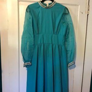 VINTAGE 60s Sheer Jasmine Turquoise Maxi Dress